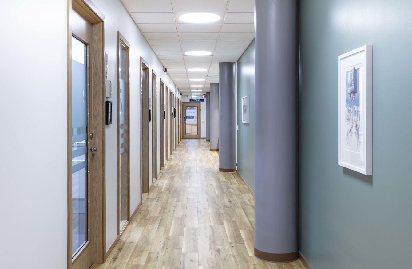 Korridor Folktandvården i Fristad - Fristad Bygg